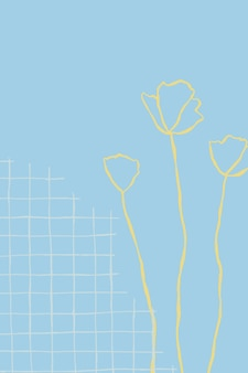 野花の花の落書きと青いグリッド花の背景ベクトル
