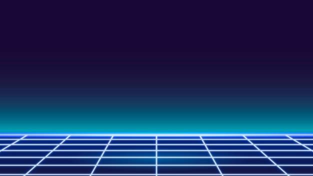 파란색 격자 네온 무늬 배경 벡터