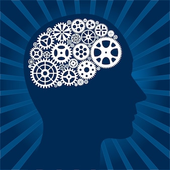 Синий гранж-фон с человеческой головой и механизмами