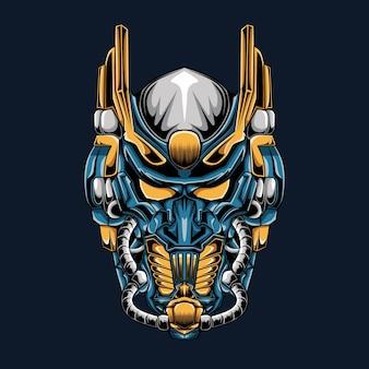 진한 파란색에 고립 된 블루 건담 로봇 머리