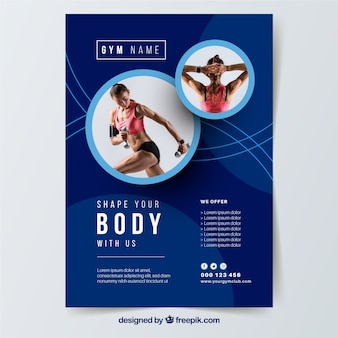 Blue gym flyer template