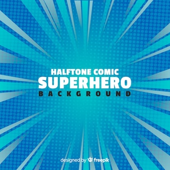 Blue halftone superhero background