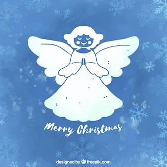 Sfondo disegnato a mano blu con un angelo di natale