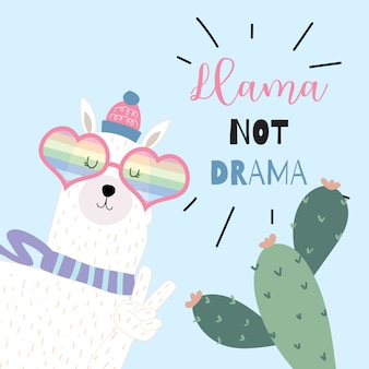 Blue hand drawn cute card with llama not drama