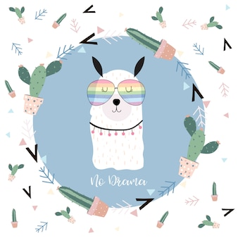 Blue hand drawn cute card with llama,glasses