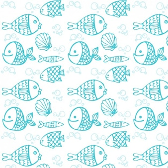 Blue hand drawn fish pattern