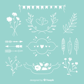 Blue hand drawn wedding ornament collection