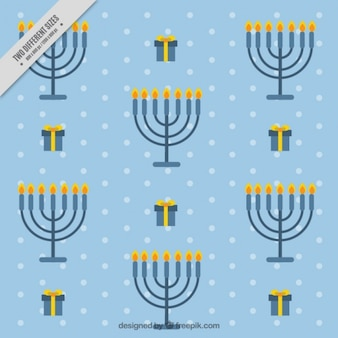 Blue hanukkah background with candelabras and gifts