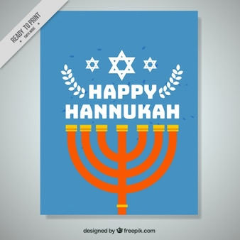 Blue hanukkah greeting card with candelabra
