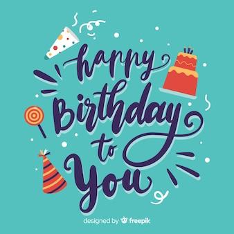 Blue happy birthday lettering