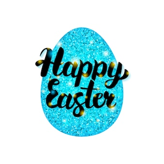 Blue happy easter greeting. vector illustration of spring holiday postcard with calligraphy.