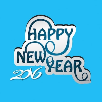 Blue happy new year 2016 card
