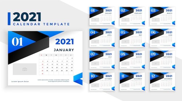 Blue happy new year calendar template