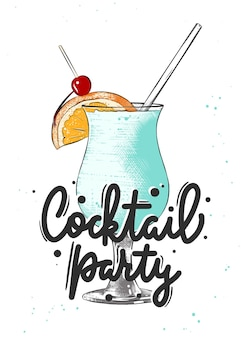 Blue hawaiian alcoholic cocktail illustration hand drawn drink or beverage cocktail party