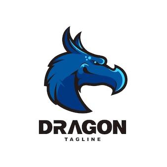 Blue head dragon mascot design