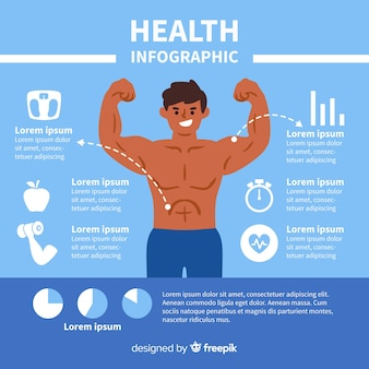 Blue health infographic flat design