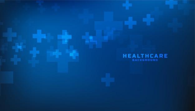Sanità blu e fondo medico con il segno più