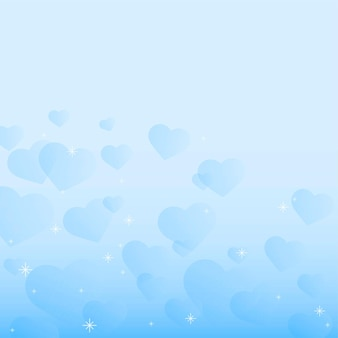 青いハートの泡の背景