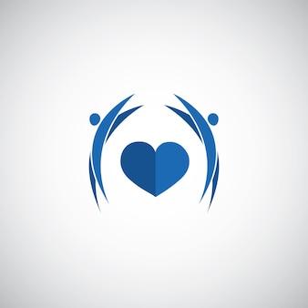 白い背景の上の青いハートケアのロゴ