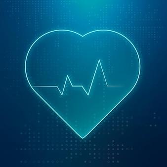 ヘルスケア技術の青いハートパルスアイコンベクトル