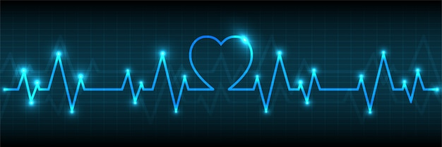 Blue heart pulse monitor with signal background