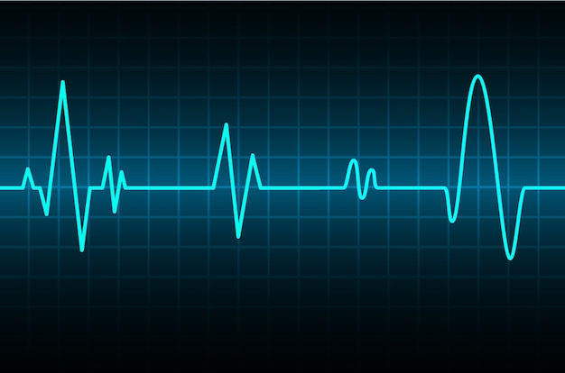 Blue heart pulse monitor with signal. heart beat icon. ekg