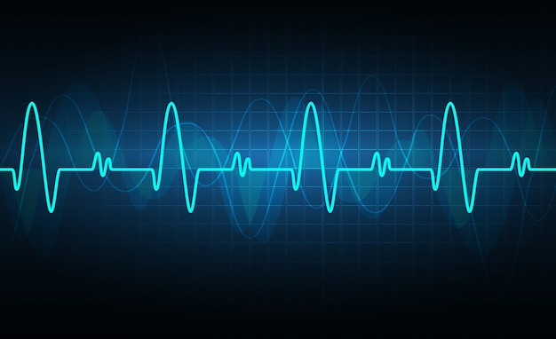 Blue heart pulse monitor with signal. heart beat. icon. ekg