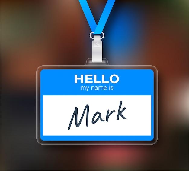 青いこんにちは私の名前は白い背景の上のラベルステッカーです。図