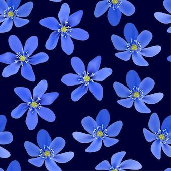 Blue hepatica flower seamless pattern