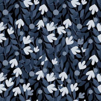 Blue herbal leaves seamless pattern