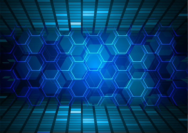 Синий шестиугольник кибер цепи будущей технологии концепции фон