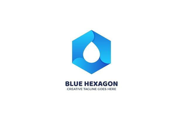 青い六角形の幾何学的なロゴのテンプレート