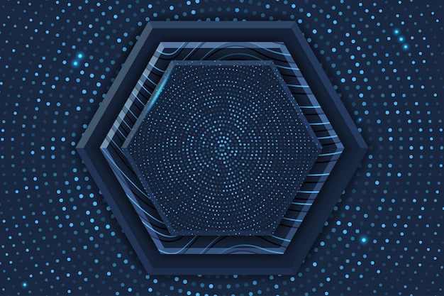Blue hexagon luxury background with glowing halftone pattern