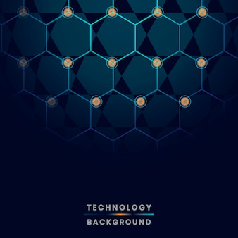 Blue hexagon network technology background vector