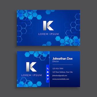 Blue hexagon pattern business card template