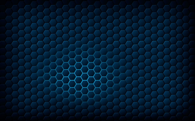 Blue hexagon with light blue background