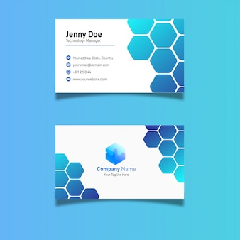 Blue hexagonal business card design
