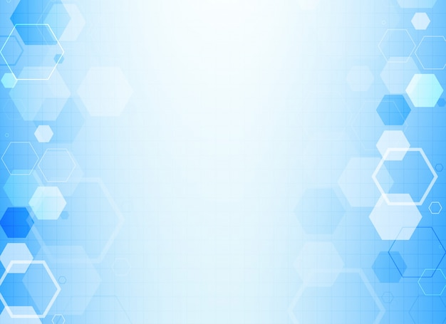 Blue hexagonal molecule structure background