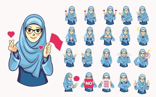 안경이 달린 파란색 hijab 스티커 팩