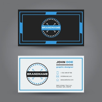 Blue hipster business card Free Vector