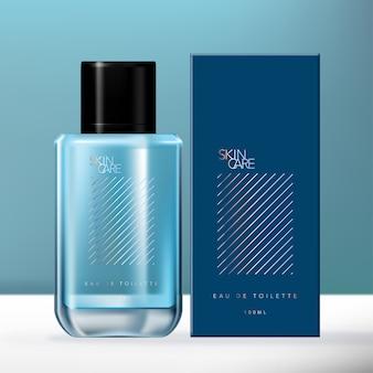 Blue & holographic мужчины аромат стеклянная бутылка упаковка набор с картонной коробке.