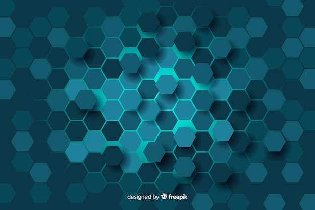 Blue honeycomb of digital circuit background