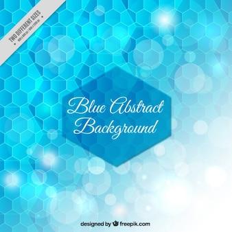 Blue honeycomb shiny bokeh background