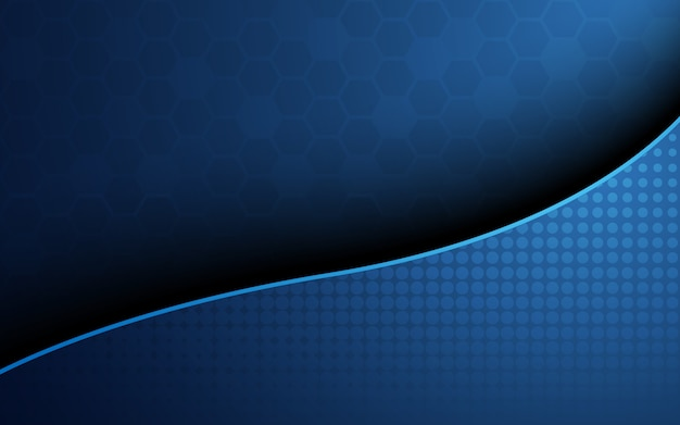 Blue honeycomb with blue wave curve abstract background. wallpaper and texture concept. minimal theme