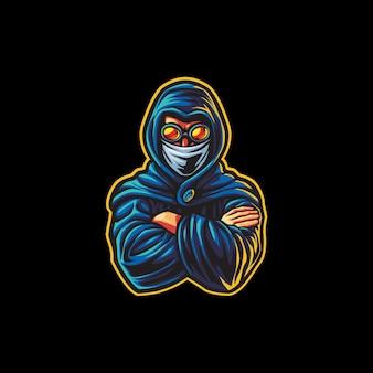 Синий киберспорт мальчика с капюшоном