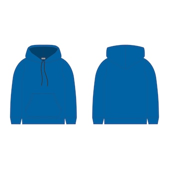 Blue hoodie  . technical sketch hood for men. technical design.