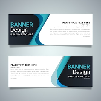 Blue horizontal business banner layout template design.