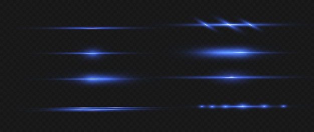 Голубые горизонтальные лазерные лучи, горизонтальные световые лучи.