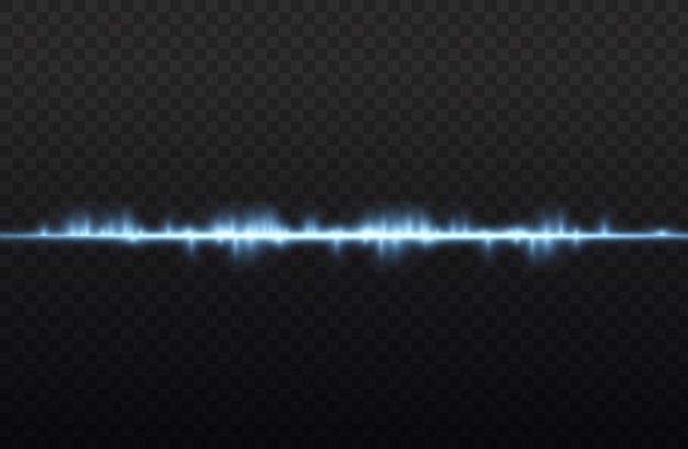 Голубые горизонтальные блики линз, синий сияющий лазерный луч