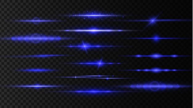 青い水平レンズフレアレーザービーム